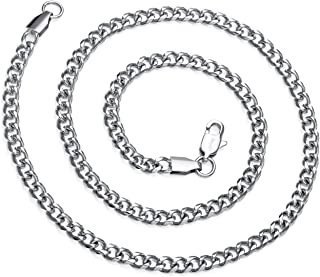 Sponsored Ad - AmyRT Jewelry 4mm Silver Titanium Steel Link Curb Chain Necklace for Men Women 16 to 30 Inch