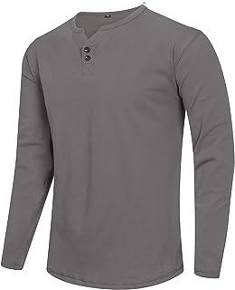 Fashion Contrast Cotton Lightweight Long Sleeve Shirts Henley Regular Fit Casual T-Shirts