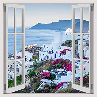 Alonline Art - Santorini Greece Sunset by Fake 3D Window | print on canvas | Ready to frame (synthetic, Rolled) | 31