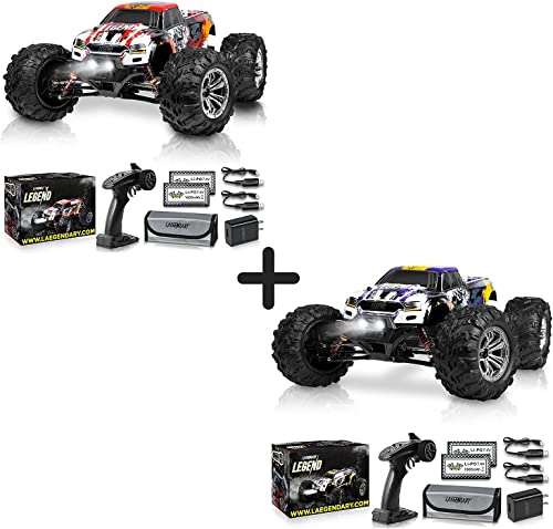popular 1:10 Scale Large RC Cars 50+ kmh Speed popular - Boys Remote Control Car 4x4 Off Road Monster Truck Electric - All Terrain Waterproof Toys Trucks for Kids and Adults - Red-Orange and 2021 Purple-Yellow Bundle Pack outlet online sale