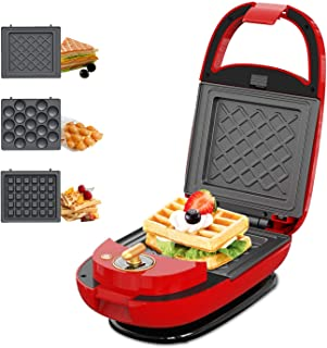 ECX Sandwich Maker, Waffle Maker, Donut Maker, Meatball Grill, 3-in-1 Detachable Non-stick Coating, LED Indicator Lights, Cool Touch Handle, Anti-skid Feet