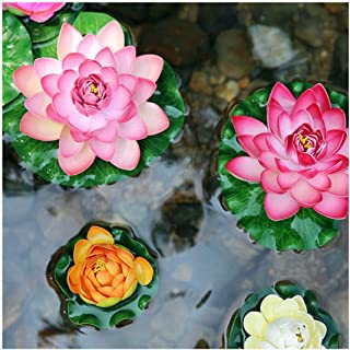 Yuktha Eternals Artificial Floating Foam Lotus Flowers, Realistic Water Lily Pads for Home Garden Patio Pond Aquarium Swimming Pool - 5 Pcs