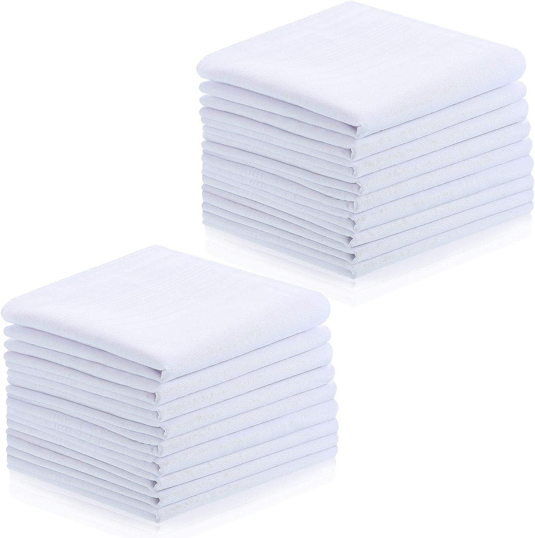 18 Pieces Men's Handkerchiefs, Soft Cotton, Classic Men's White Hankie