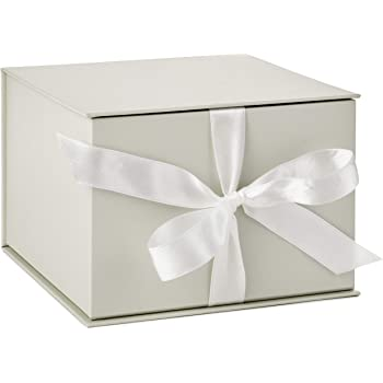 "Hallmark 7"" White Gift Box with Lid and Shredded Paper Fill for Weddings, Mothers Day, Bridesmaids Gifts, Engagements, Bridal Showers, Graduations, Christmas, Holidays, Birthdays and More"