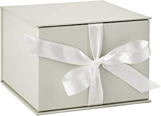 "Hallmark 7"" Large White Gift Box with Lid and Shredded Paper Fill for Weddings, Birthdays and More"
