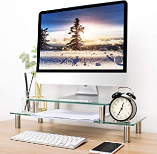 TAVR Dual Computer Glass Monitor Riser Stand with Adjustable Height Multi 2 or 1 Tier Variable Assembling Desktop Organizer for School Supplies Flat Screen TV Laptop/Notebook/Component/Xbox One CM2003