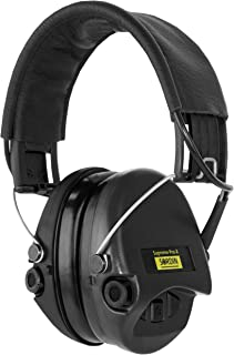 Sordin Supreme PRO X - Active Hearing Protection, Noise Reduction Safety Ear Muffs - Black Leather Headband and Cups