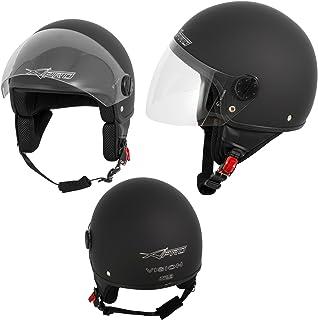 A Pro Motorradhelm Motorrad Roller Jet Helm Demi Mit Viser Matt Schwarz S