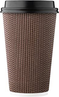 HARVEST PACK 16 oz Insulated Ripple Double-Walled Paper Cup with Lid, Brown Geometric, Coffee Tea Hot Chocolate Drinks To ...
