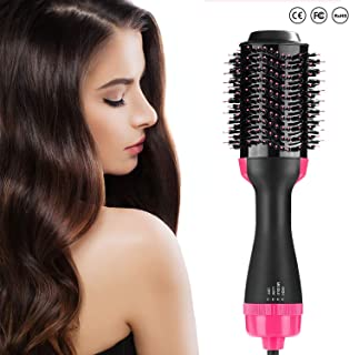 Hot Air Brush, One Step Hair Dryer Volumizer, 4-in-1 Salon Negative Ionv Straighten Electric Blow Dryer, Upgrade Feature Anti-scald Reduce Frizz and Static Styling Tools(Rose)