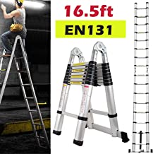 Bowoshen 16.5FT Aluminum Telescoping Extension Ladder 330lbs Max Capacity A-Frame Lightweight Portable Multi-Purpose Foldi...