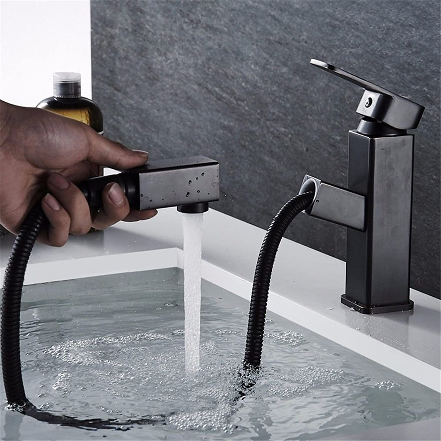 Modern simple copper hot and cold kitchen sink taps kitchen faucet Black matte pull-type telescopic wash basin kitchen hot and cold faucet copper wash basin washable Suitable for bathroom kitchen
