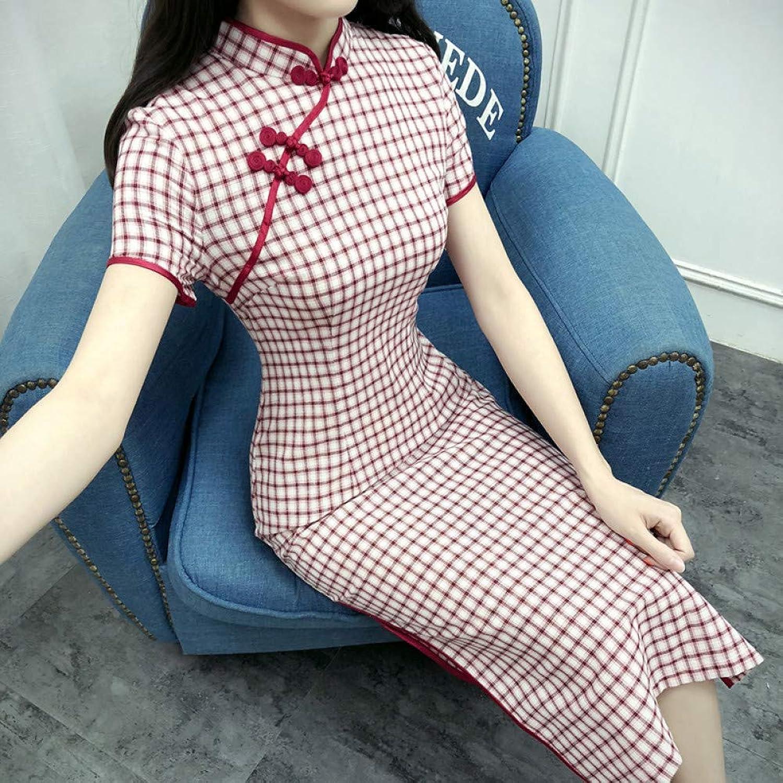 Qingxi Cheongsam Female Summer Dress In The Long Paragraph Lady Temperament Slim Cotton Linen Dress