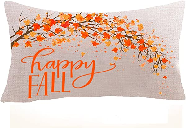 Thanksgiving Gift Fall Rules Maple Leaf Pumpkin Turkey Celebrate Harvest Cotton Linen Square Throw Waist Pillow Case Decorative Cushion Cover Pillowcase Sofa12 X20 Inches