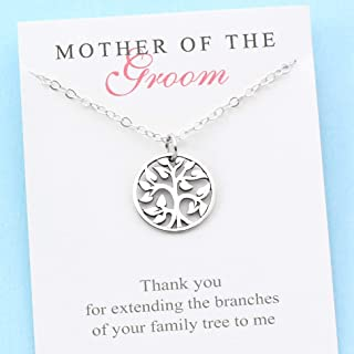 Mother of the Groom • Sterling Silver Family Tree Necklace • Personalized Gift with Meaning • Mom in Law • Handcrafted Bridal Wedding Jewelry