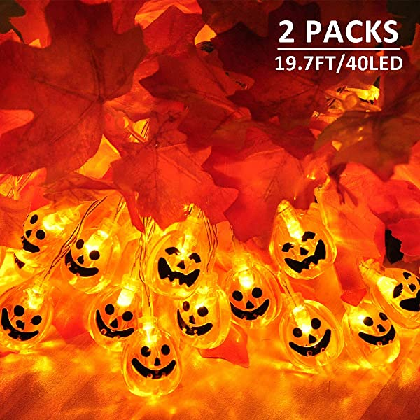 MAOYUE 2 Pack Halloween Lights Outdoor 19 7ft 40 LED Halloween String Lights 3D Pumpkin Lights Battery Operated Jack O Lantern Lights 8 Modes For Halloween Decorations Outdoor Indoor Party