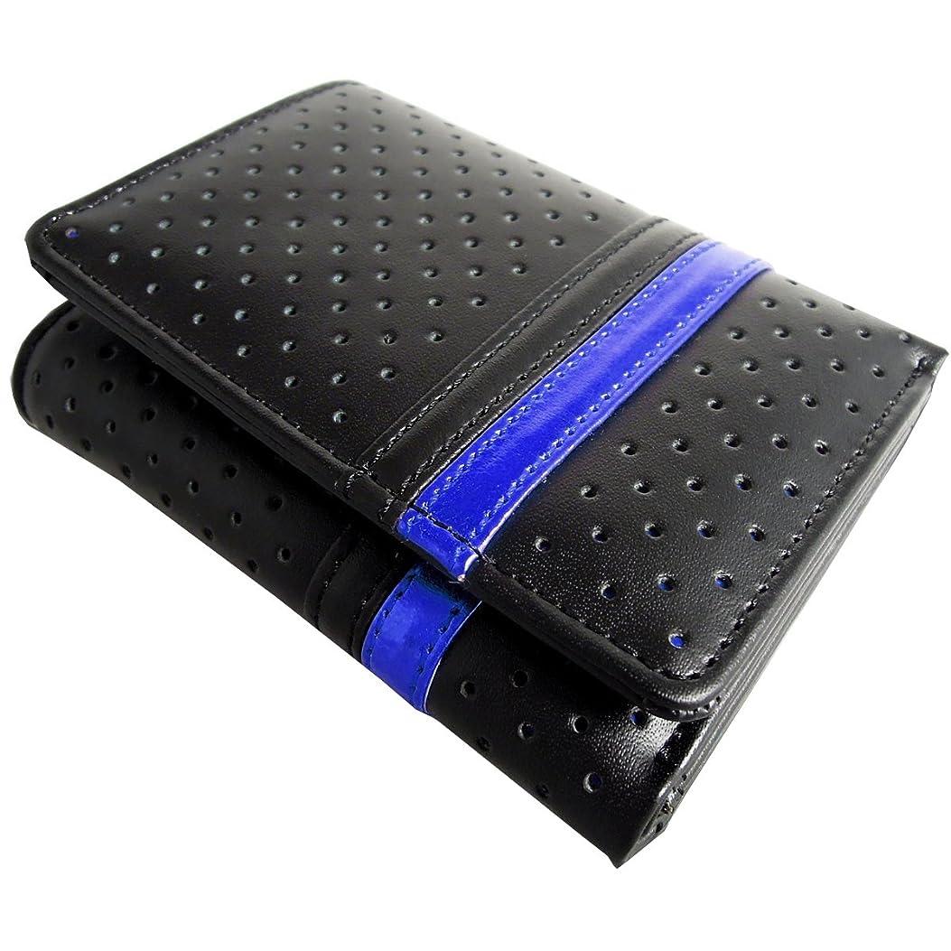幽霊脳哲学的DIABLO 極小 三つ折り財布 パンチング ライン【ブラック×メタリックブルー】KA-1216