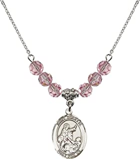 18 Inch Rhodium Plated Necklace w/ 6mm Light Rose Pink October Birth Month Stone Beads and Saint Colette Charm