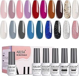 AILLSA 24 Pcs Glitters Black White Blue Gel Nail Polish Kit, Soak Off Fall Winter Gel Polish Set, Purple Brown Burgundy Na...