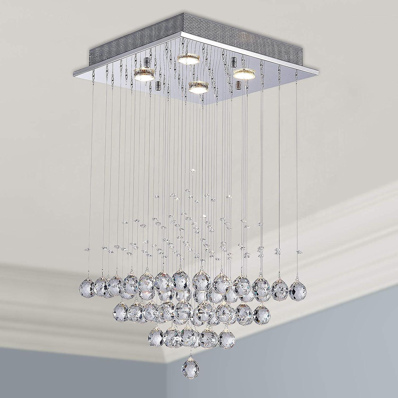 Moderne Kristall Regentropfen Kronleuchter Beleuchtung Unterputz LED Deckenleuchte Pendelleuchte für Esszimmer Badezimmer Schlafzimmer Wohnzimmer 4 GU10 LED-Lampen erforderlich