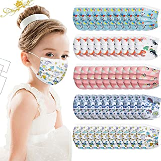 Kids Disposable Face_Mask Cartoon Pattern 3 Ply Breathable Face Bandanas for Children Students Back to School Supplies,Hig...