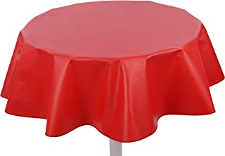 """Yourtablecloth Heavy Duty Flannel Backed Round Vinyl Tablecloth – 6 Gauge Thickness, Indoor and Outdoor & Easy to Clean 60"""" Ruby Red"""