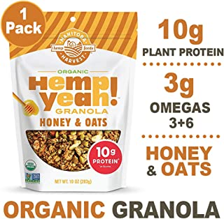 Manitoba Harvest Hemp Yeah! Granola, Honey & Oats, 10oz, with 10 g of Protein, 3.5 g Omegas, 3 g of Fiber and less than 10 g Sugar Per Serving, Organic, Non-GMO
