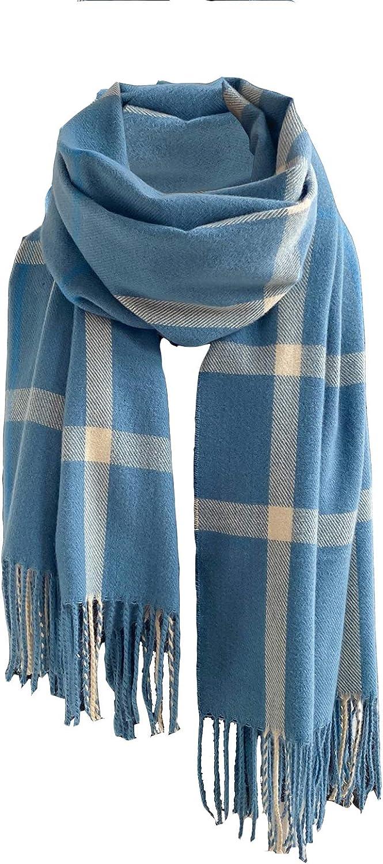 Plaid Blanket Scarf Cashmere Feel Women's Fall Winter Classic Tassel Wrap Shawl Scarves