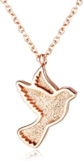 Sweet peace dove lady necklace rose gold diamond necklace flying bird plated Peace and happiness 18k titanium steel pendant