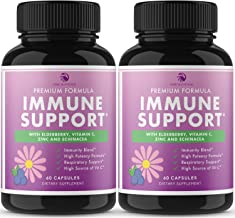 7 in 1 Immune Support - Extra Strength Immunity Booster with Elderberry, Vitamin C, Zinc, Echinacea, Astragalus, Goldensea...