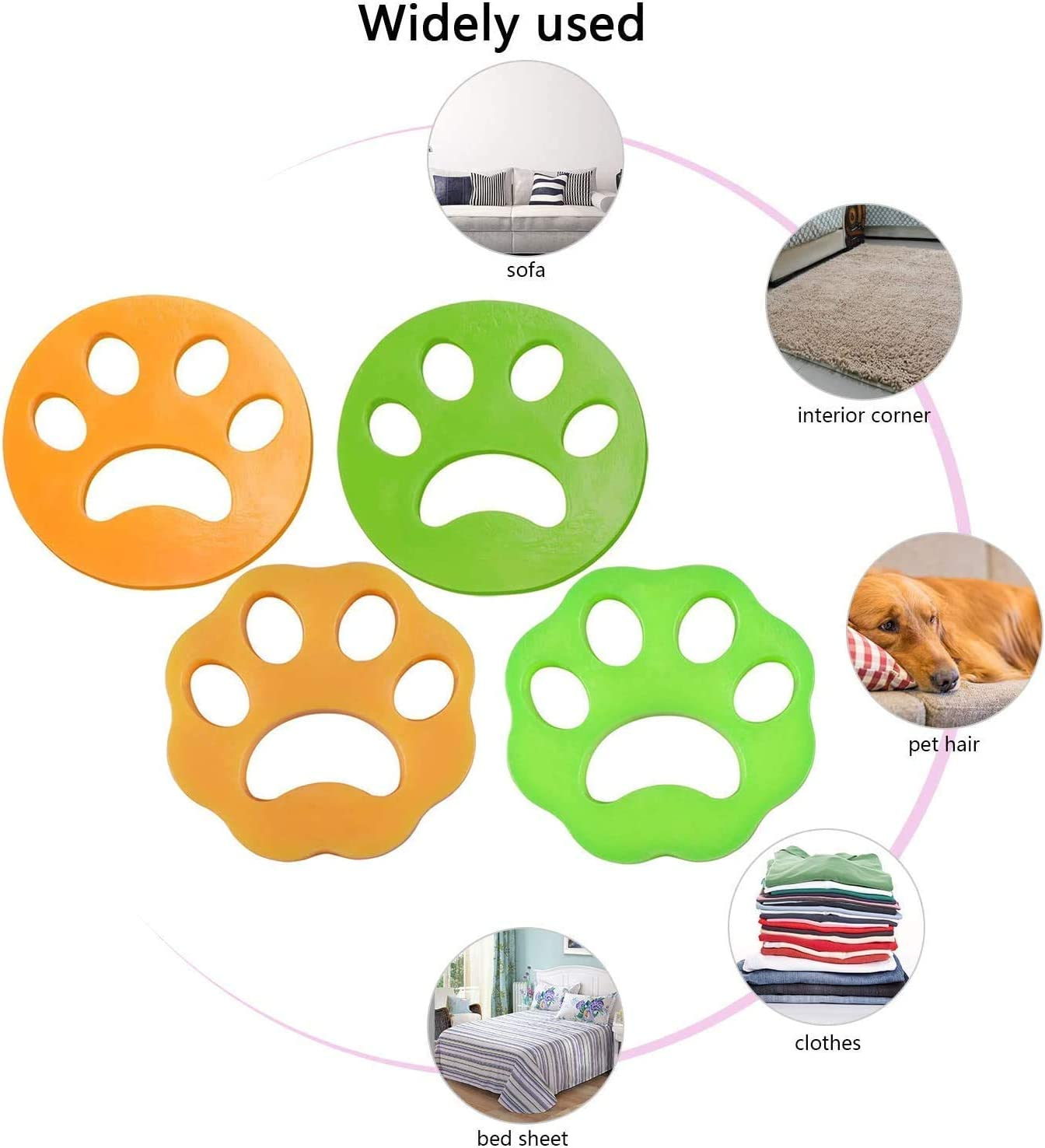 Washing Machine Pet Hair Catcher 4 PCS Pet Hair Remover for Laundry Washer Dryer Floating Ball Laundry Hair Remover Balls Pet Fur Remover Reusable Cleaning Ball Fur Catcher for Clothes Bedding