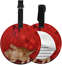 Hot Valentine's Day Cat Luggage Tag Suitcase Backpacks ID Tag with Adjustable Strap 4 Pack