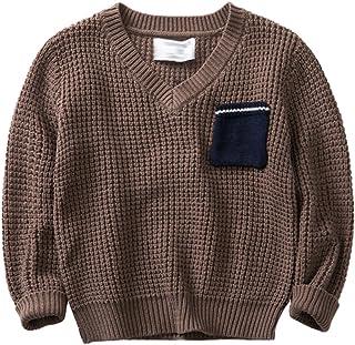 Yuncai Ocio Cuello en V Niño Otoño Jersey de Punto Algodón Cálido Suéter para Niños