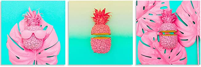 TutuBeer Plant Wall Art with Pink Pineapple Tropical Plant on Blue Background Tropical Wall Decor Green Plant Art 12