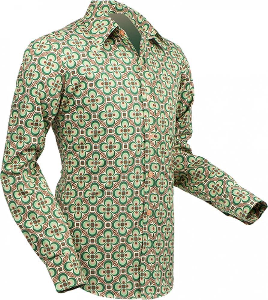 Pete Chenaski chena Esquí Camisa dotsgrid Crema de Green, Retro Años 70