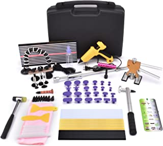 HOTPDR Paintless Dent Repair Tools Kit Gold Dent Lifter with Dent Removal Pulling Tabs Hot Melt Glue Gun Pro Glue Sticks for Dent Puller 76PCS
