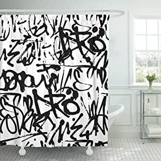 Emvency Shower Curtain Print 66x72 Graffiti with Abstract Tags Letters Without Meaning Hand Drawing Street Retro Old School Black Polyester Fabric Bathroom Set with Hooks