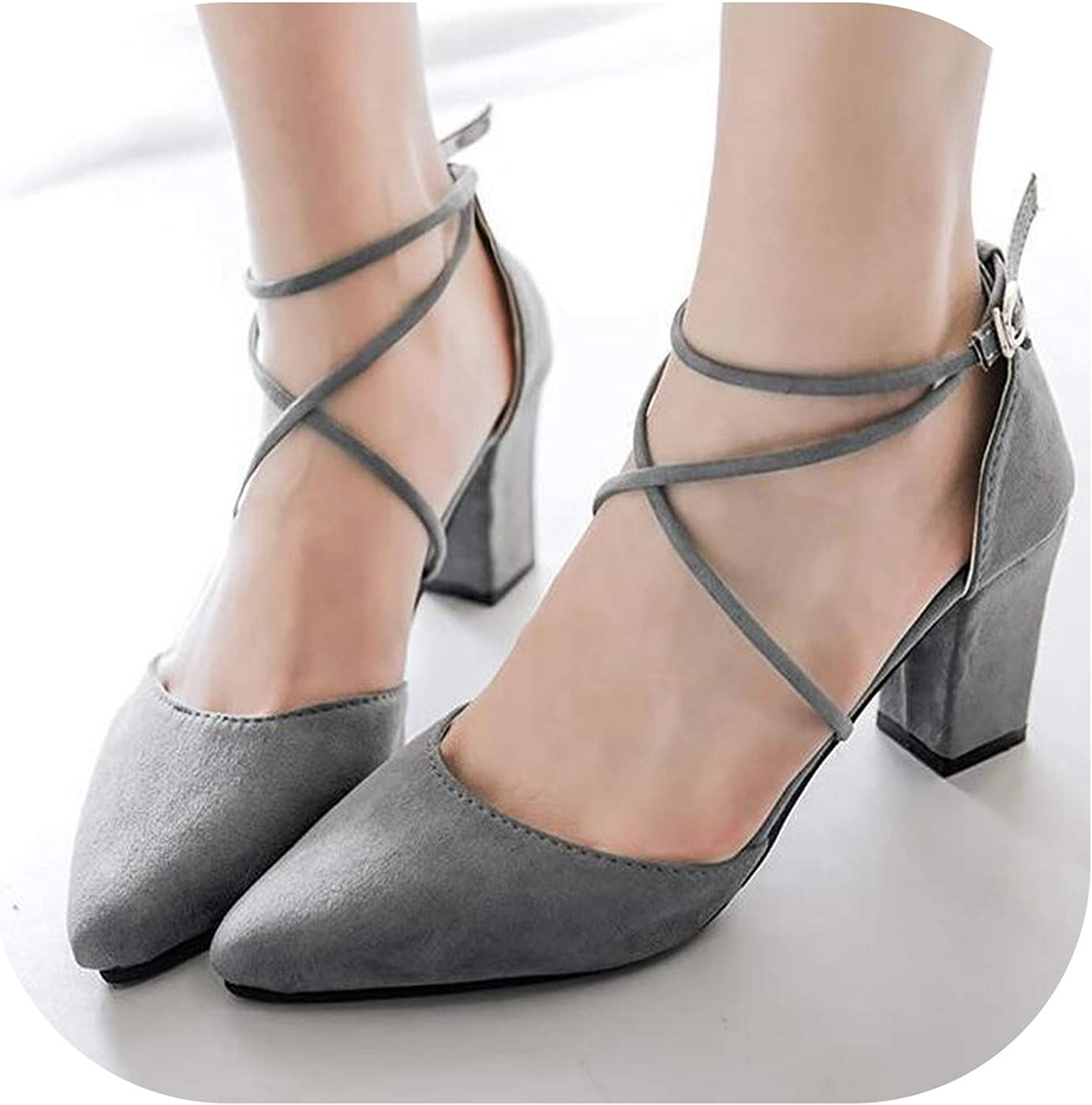 Meiguiyuan 2019 Summer Women's Pointed Toe Fashion shoes Thick Heel high-Heeled shoes Button Sandals