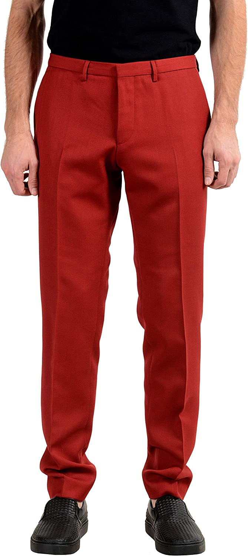 Hugo Boss Reymond/Wenten Men's Wool Extra Slim Red Casual Pants US 32 IT 48