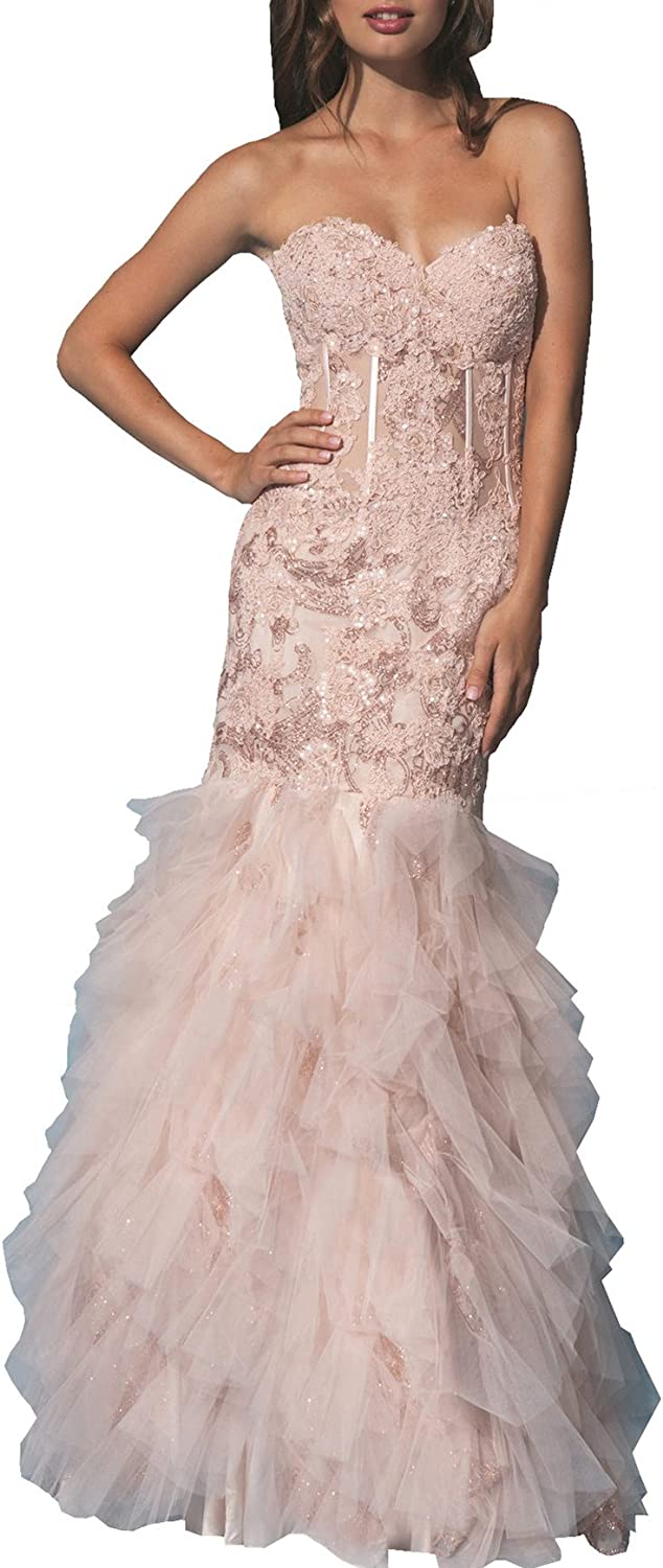 ChangjieWomen's Strapless Mermaid Prom Dress Lace Long Formal Evening Party Gown