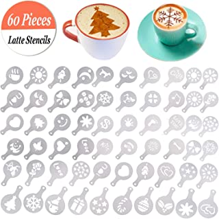 Buytra 60 Pack Barista Coffee Stencils Latte Art Stencils Cappuccino Stencils Templates for Coffee Decorating, Cookie Icing, Cake, Cupcake Decor | Food Grade PP, Easy to Clean, Various Patterns