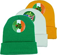 Zooplan Knit Beanie with Button Pins for St. Patrick`s Day Funny Hat Skull Knit Cap