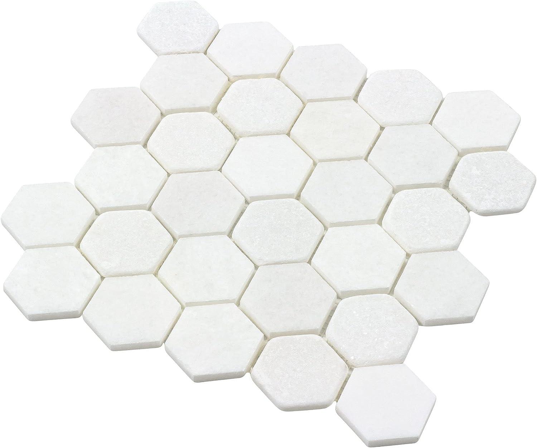 Modern 2x2 White Hexagon Stone Tile Backsp Cheap bargain Marble Max 89% OFF Kitchen Mosaic