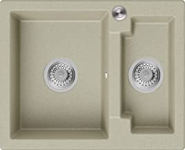 Granieten Gootsteen Beige + Pop-Up Sifon + Antibacterieel Oppervlak, Voor Keukenkasten vanaf 60 cm, Grootte 59,5 x 48,5 c...