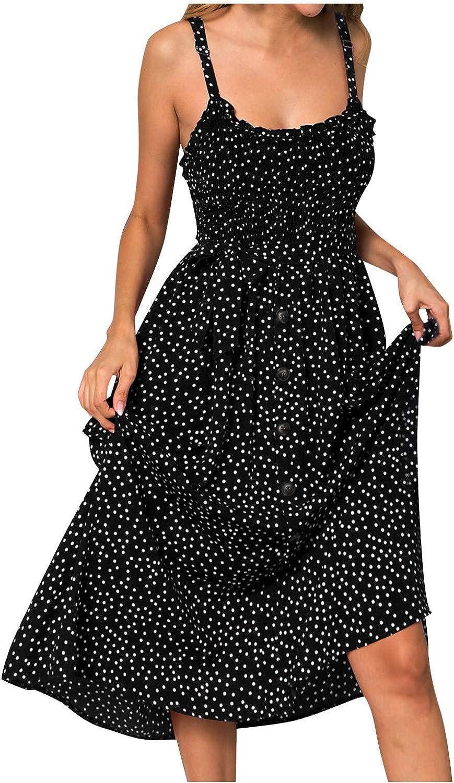 Lovor Womens Sleeveless V Neck Spaghetti Strap Pockets Button Down Beach Boho Tropical Summer Midi Dress