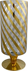 "Melrose 12"" Gold and Clear Swirl Striped Christmas Candle Holder"