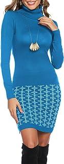 Abollria Vestito Maglione Donna Invernale Casual Vestito Collo Alto Aderente Abito Basic in Maglia con Manica Lunga