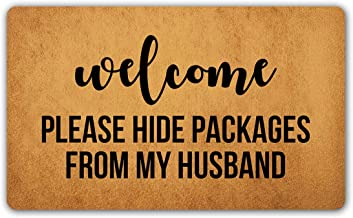 DoubleJun Funny Doormat Welcome Please Hide Packages from My Husband Entrance Mat Floor Rug Indoor/Outdoor/Front Door Mats Home Decor Machine Washable Rubber Non Slip Backing 29.5