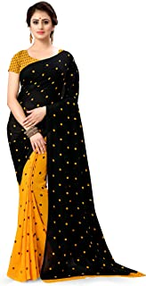 Anand Sarees georgette with blouse piece Saree (1262_5_ Yellow_ Free)