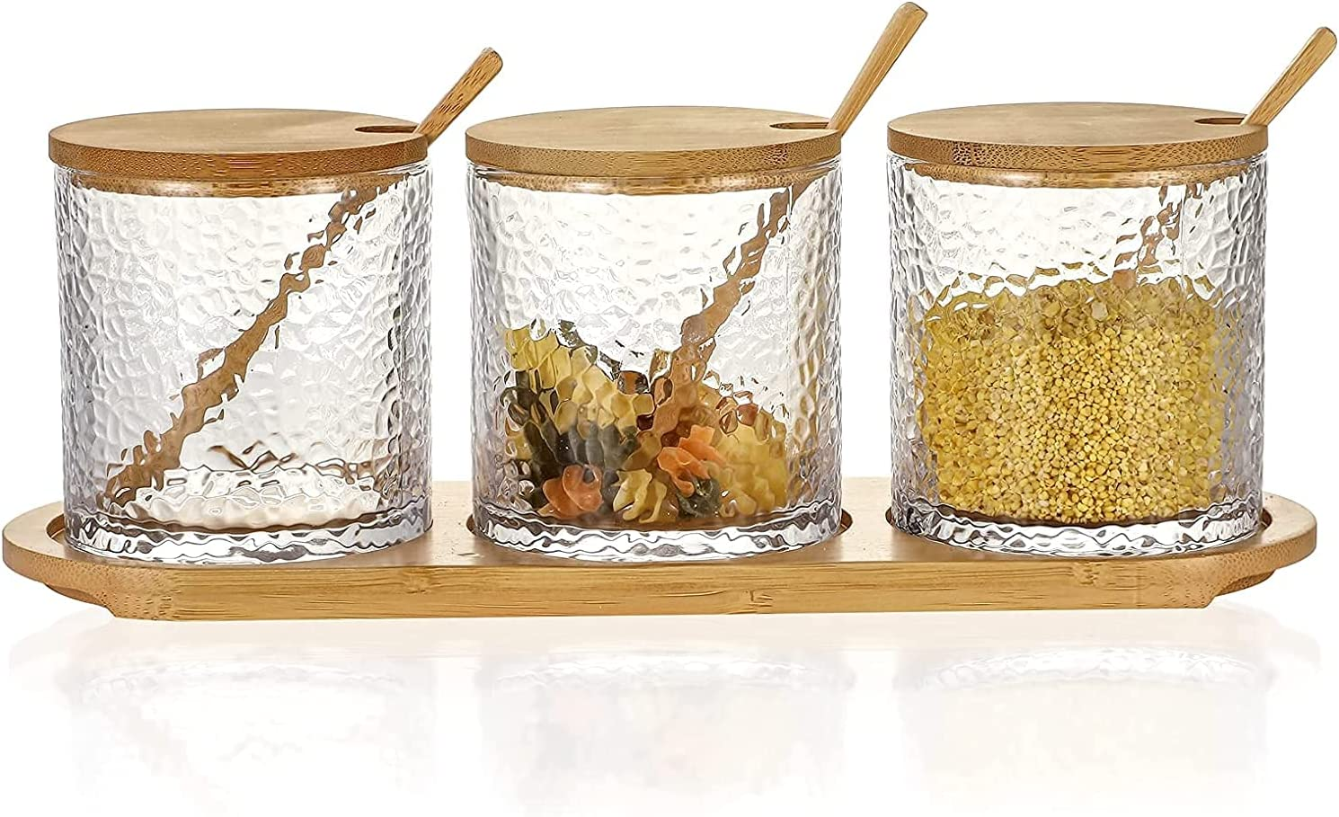 Gaier Omita Spice Storage Houston Mall Jar with and Spoons set of Bamboo Lids San Jose Mall
